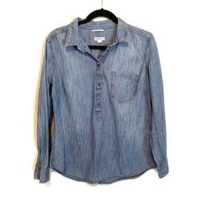 Merona Chambray Long Sleeve Pullover Top